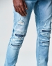 ALLDD Paneled Inverted Biker Denim Pants ripped light blue 3232