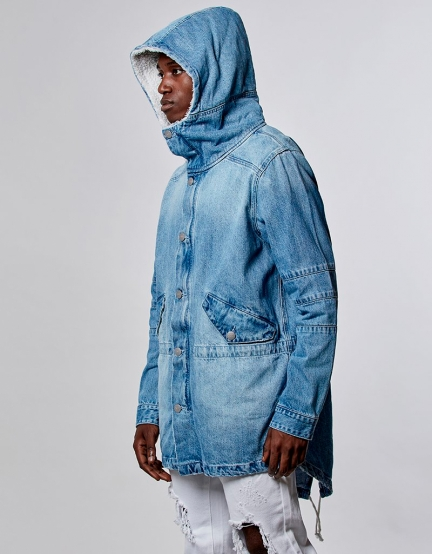 ALLDD Sherpa Denim Parka light blue XL