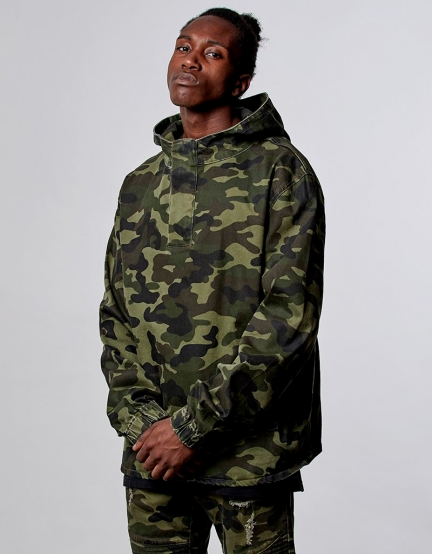 ALLDD Denim Half Zip Hoody washed woodland XL