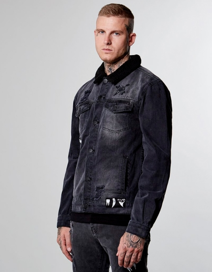 ALLDD Patched Classic Sherpa Denim Jacket faded black XS