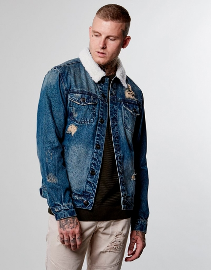 ALLDD Classic Sherpa Denim Jacket sand washed blue S