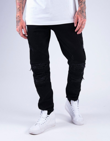 ALLDD Paneled Inverted Biker Ian Denim Pants black 3432