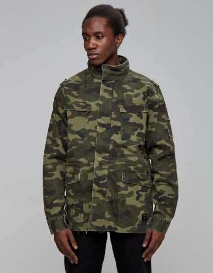 ALLDD Army Denim Jacket woodland camo XS