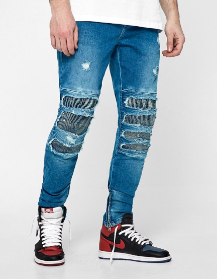 ALLDD Inverted Biker Ian Denim Pants mid blue 3032