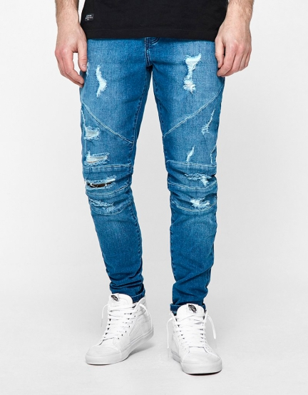 ALLDD Paneled Ian Denim Pants mid blue 2830