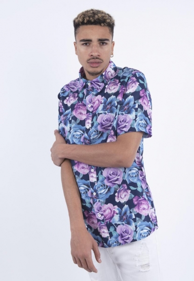C&S WL Roses Short Sleeve Shirt black/mc S