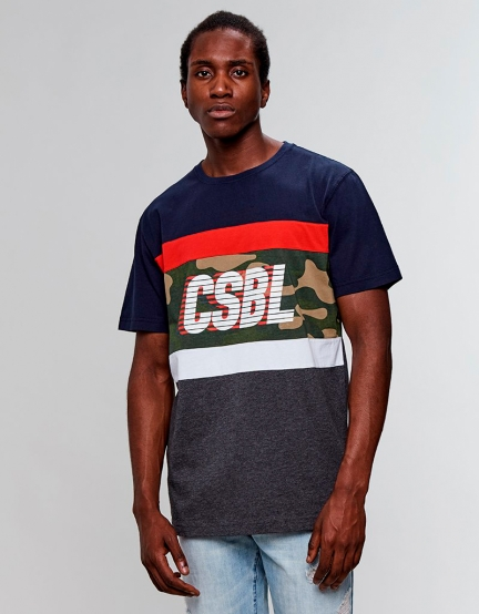 CSBL Blocked Tee navy/heather grey XL