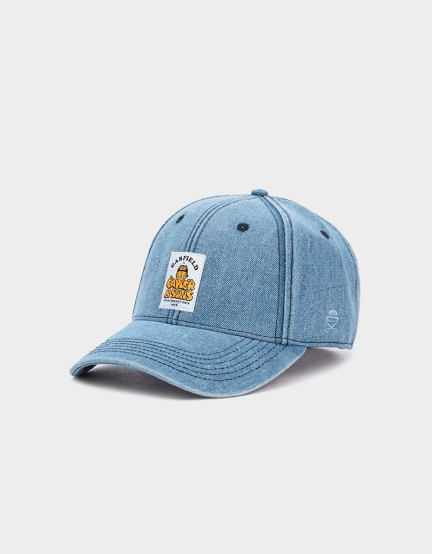 C&S WL CS Garfield Curved Cap washed blue denim one