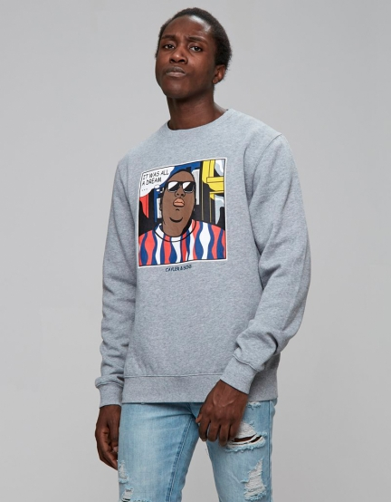 C&S WL Biggenstein Crewneck heather grey/mc XL