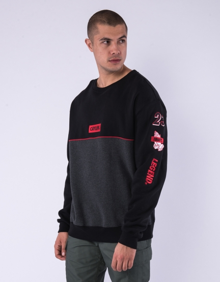 C&S WL Legend Oversized Crewneck black/heather grey XL