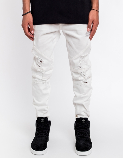 C&S Paneled Denim Pants platinum white 2830