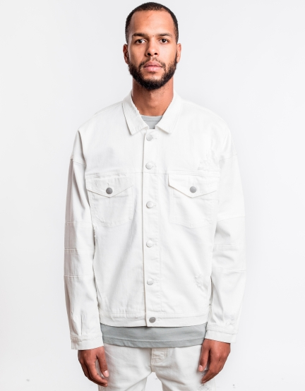 C&S Drop Shoulder Denim Jacket platinum white XL
