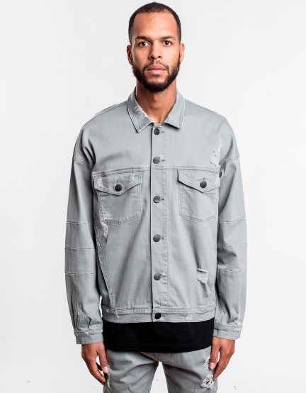 C&S Drop Shoulder Denim Jacket cool grey XL