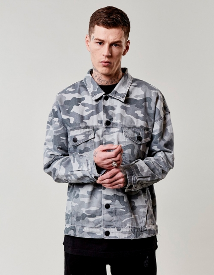 C&S ALLDD Denim Trucker Jacket grey M