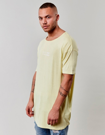 CSBL You Hear Drop Shoulder Scallop Tee yellow XL